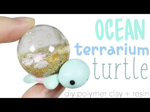 How to DIY Ocean Terrarium Dome Turtle Polymer Clay Resin Tutorial