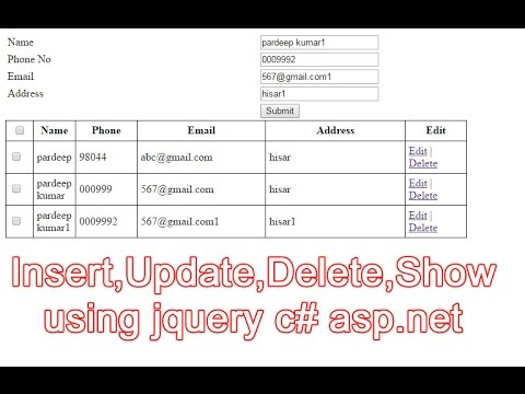 insert,update,delete using ajax jquery part-1