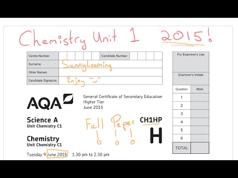 2015 Chemistry Unit 1 Full Paper CH1HP AQA GCSE Science