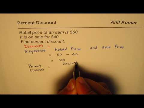 Find Percent Discount from Retail price and Sale