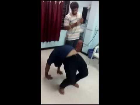 Backbend by national champion of yogasana or yoga India body flexibility