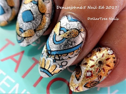 TUTORIAL----DOLLARTREE NAILS ---------Using Temporary Tattoos -----------See How