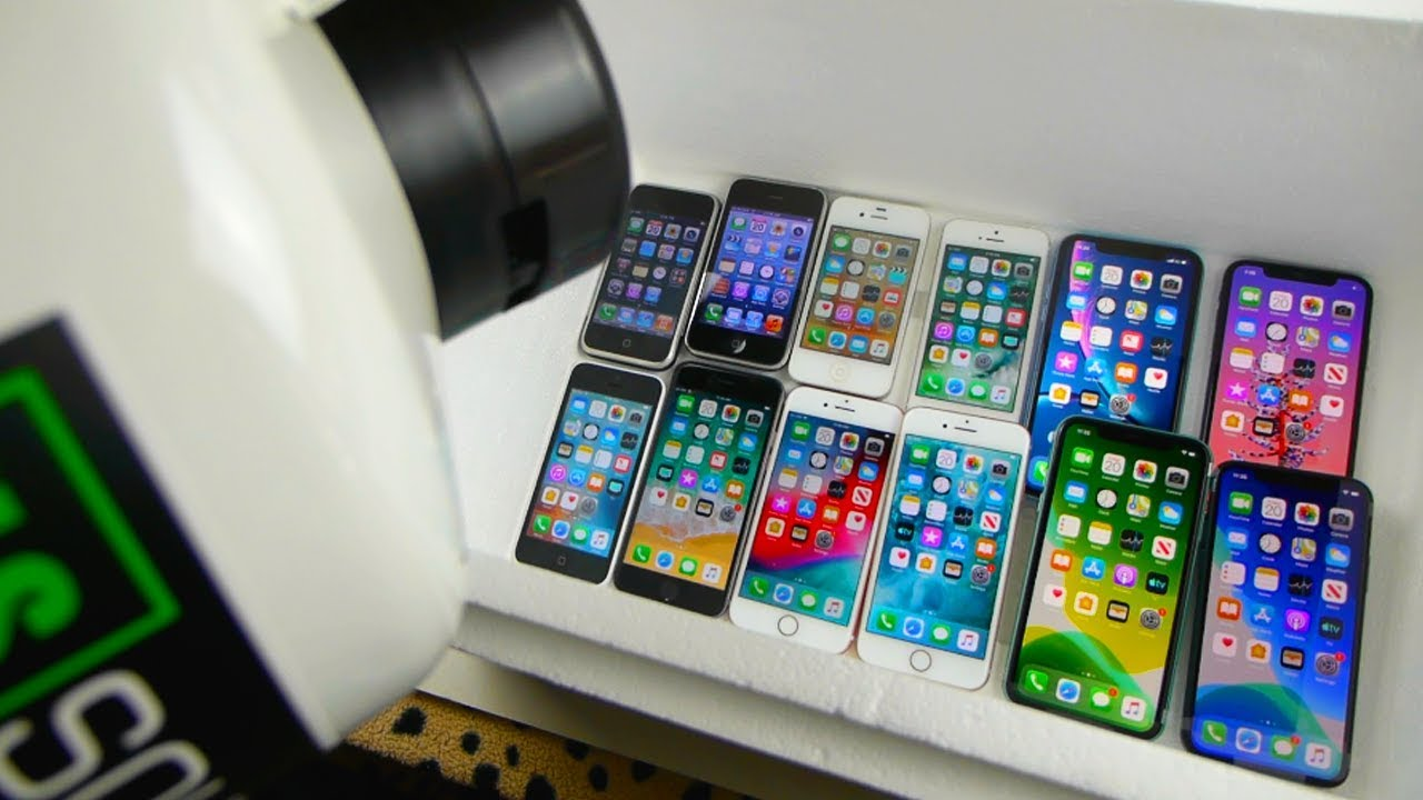Pouring Liquid Nitrogen on Every iPhone - 11 Pro, 11, XS, XR, 8, 7, 6, 5, 5C, 4S, 3G, 2G Freeze Test
