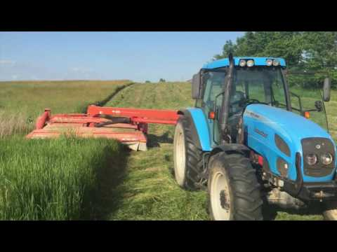 cutting hay finally!!! with the landini tractor and Kuhn mower
