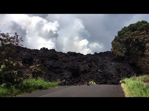 Hawaii Lava Crosses Highway, Flows Into Ocean