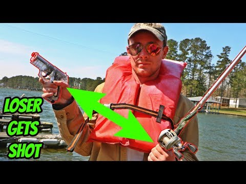 PAINFUL Bass Fishing Challenge - LOSER Gets A Full Clip Of Airsoft BBs To The Back?! (SUSPENSEFUL)