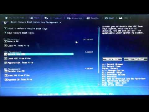 Disable Secure Boot Win8 Win10 ASUS UEFI BIOS