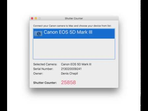 Shutter Counter for Canon EOS DSLR Cameras (Mac OS X)