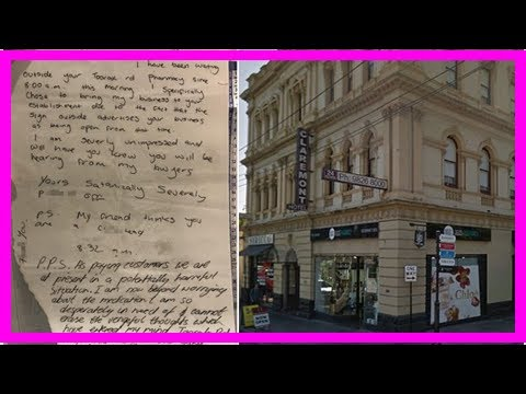 Breaking News | Melbourne pharmacist arrives to find note from man who needs drugs