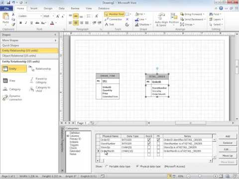 Using Visio to Create a Database