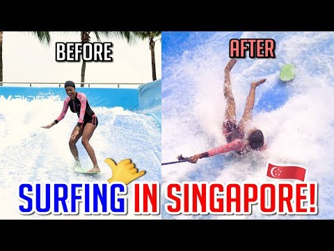 FIRST TIME SURFING!..took a hard fall!! 🌊