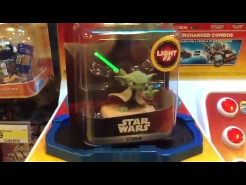 Testing Star Wars Light FX figures on a Skylanders base at Target