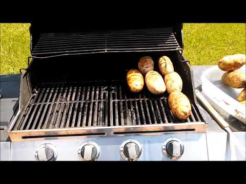 How to bake potatoes on a gas grill or bbq pit