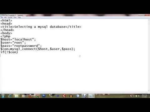 Select a mysql database using php script
