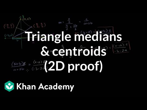 Triangle medians and centroids (2D proof) | Geometry | Khan Academy
