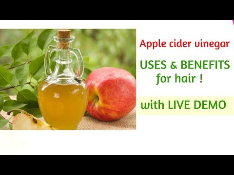 Apple cider vinegar USES & BENEFITS FOR HAIR    LIVE DEMO    in hindi   wow apple cider vinegar