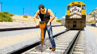 STOPPING THE TRAIN In GTA 5 - Amazing Experiments #4 - GTA 5 Gameplay