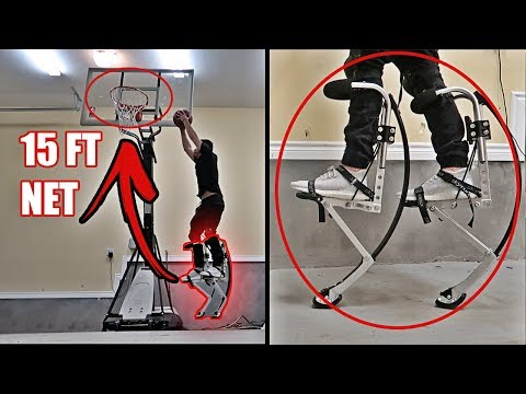 THESE ROBOT LEGS MAKE YOU JUMP LIKE LEBRON JAMES!! *BIONIC JUMPING STILTS*