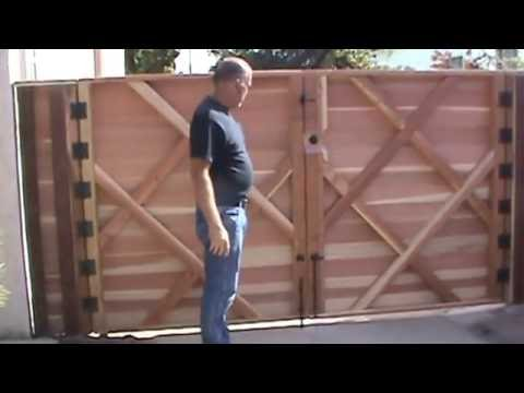 Double-swinger Horizontal Wood Driveway Gate Newest, Strongest Frame, built by WoodFenceExpert.com