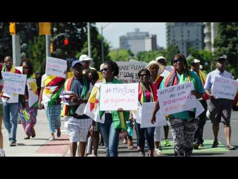 Zimbabwe-Canadians March in Kitchener Waterloo, Canada