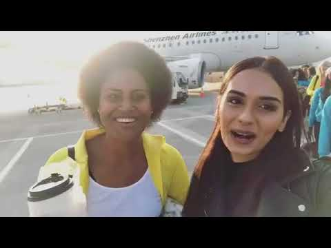 manushi chhillar Miss world 2017 in Airport with MIss world contestant