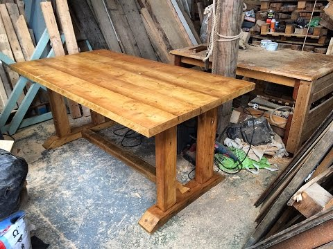 Reclaimed wood dining table part 3