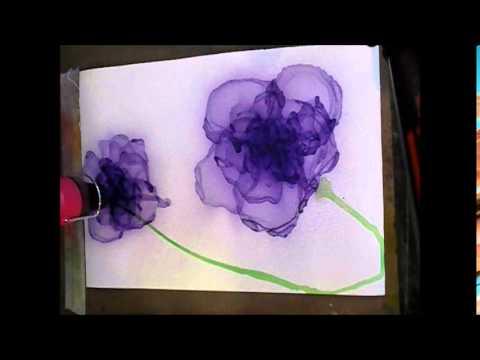 Elna's Acrylic ink flowers