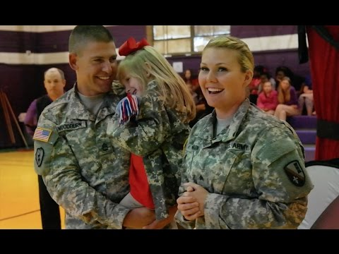Soldiers Surprise Daughter at School Magic Show!