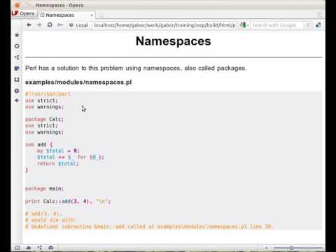 Namespaces and packages in Perl