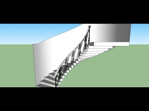 Sketchup Making Of  ; Curved Railing For Stairs