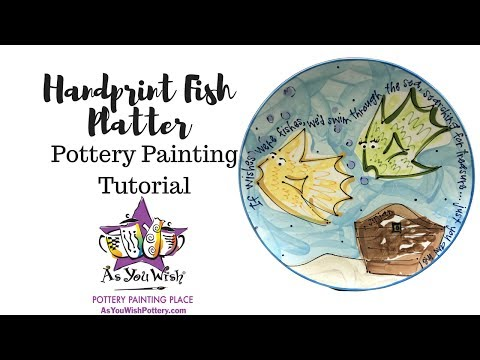 Fish Handprint Plate|As You Wish Pottery Painting Place
