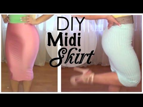 DIY No Sew Bodycon Midi Skirt