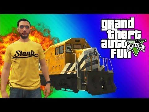 GTA 5 Stopping the Train! (How to Stop the Train, Train Glitch, Online Funny Moments & Fails)