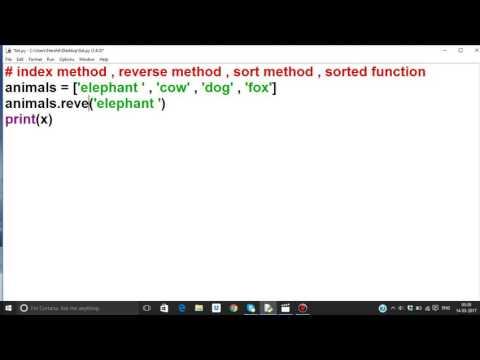 Python tutorial in Hindi 28 : List part 4 ( index , reverse , sort method , sorted function)