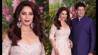 Madhuri Dixit With Husband Sriram Nene At Sonam Kapoor Wedding Reception