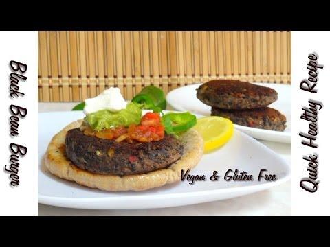 Quick Healthy Black Bean Burger Video Recipe by Bhavna - Vegan & Gluten Free