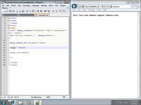 PHP Lesson 34 - Creating Tables in MySQL using PHP