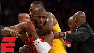 LeBron James' home debut marred by Lakers vs Rockets scuffle | NBA Highlights