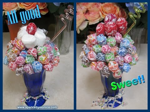 DIY Candy Bouquet: Dum Dums Tootsie Roll Lollipop Ice Cream Sundae | Sparkle by Monica