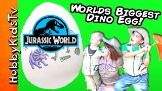 Giant JURASSIC WORLD DINOSAUR Egg! Toy Surprises with HobbyBobby