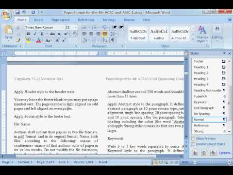 How to use Format Style for Conference Paper