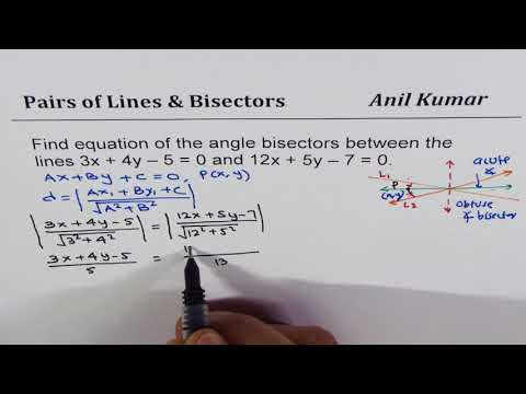 Find equation of the angle bisectors of a pair of line