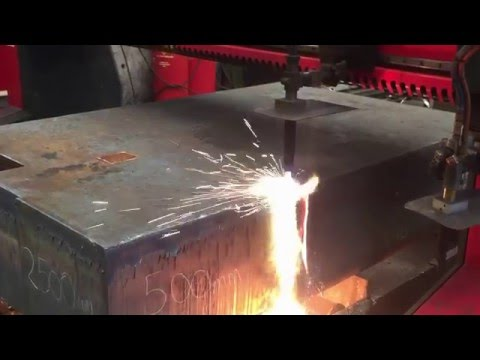 AJS Profiles cutting 500mm thick plate.