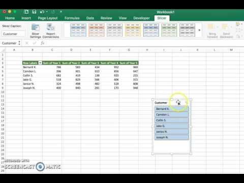 Slicers for Excel 2016 Mac