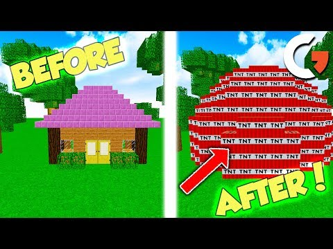 SWAPPING HATERS HOUSE WITH TNT ON MINECRAFT! (Minecraft Trolling)