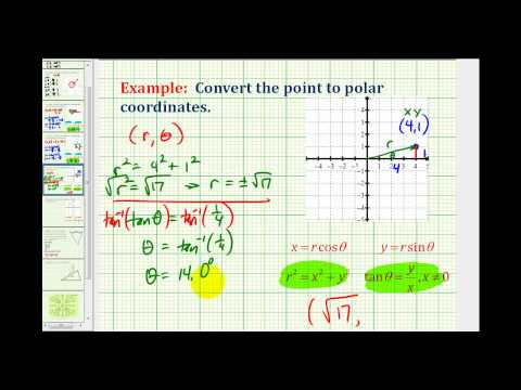 Example:  Convert a Point in Rectangular Coordinates to Polar Coordinates Using Degrees