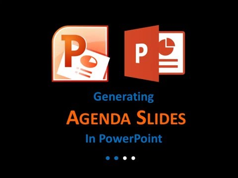 Generating agenda slides in PowerPoint