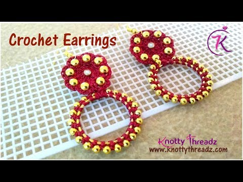 How to make Crochet Earrings with Gold Beads Using Kamal Embroidery Thread   www.knottythreadz.com