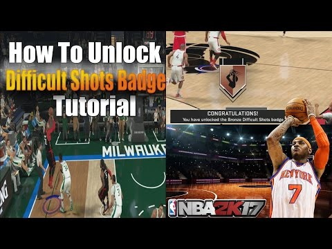 NBA 2K17: THE EASIEST WAY TO UNLOCK DIFFICULT SHOTS BADGE TUTORIAL