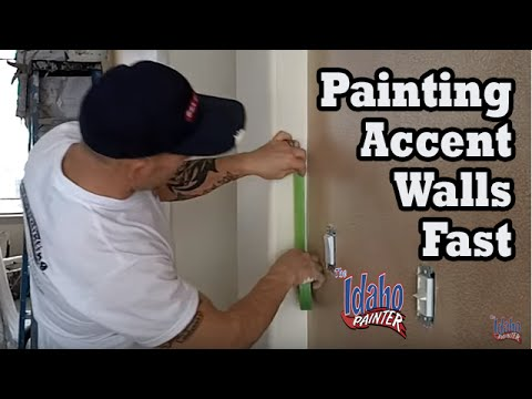 Painting an Accent Wall Quickly.  Paint Different Wall Colors.